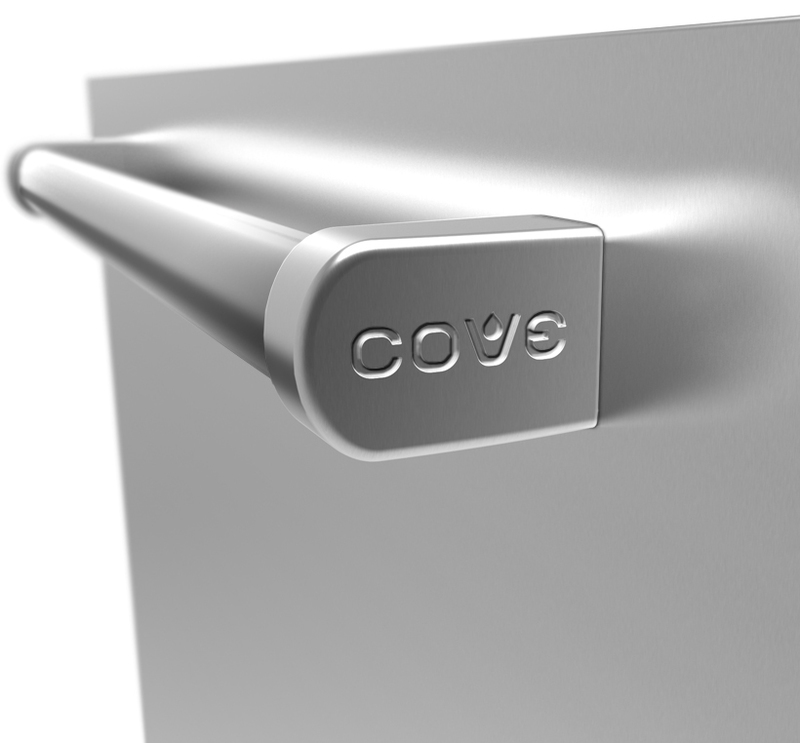 Close up view of the Cove handle showing stamped-in detail