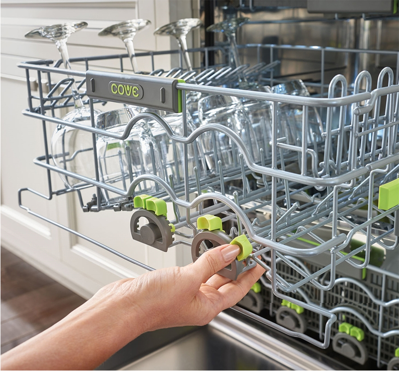 Close up view of how the tine adjustment works on the Cove Dishwasher