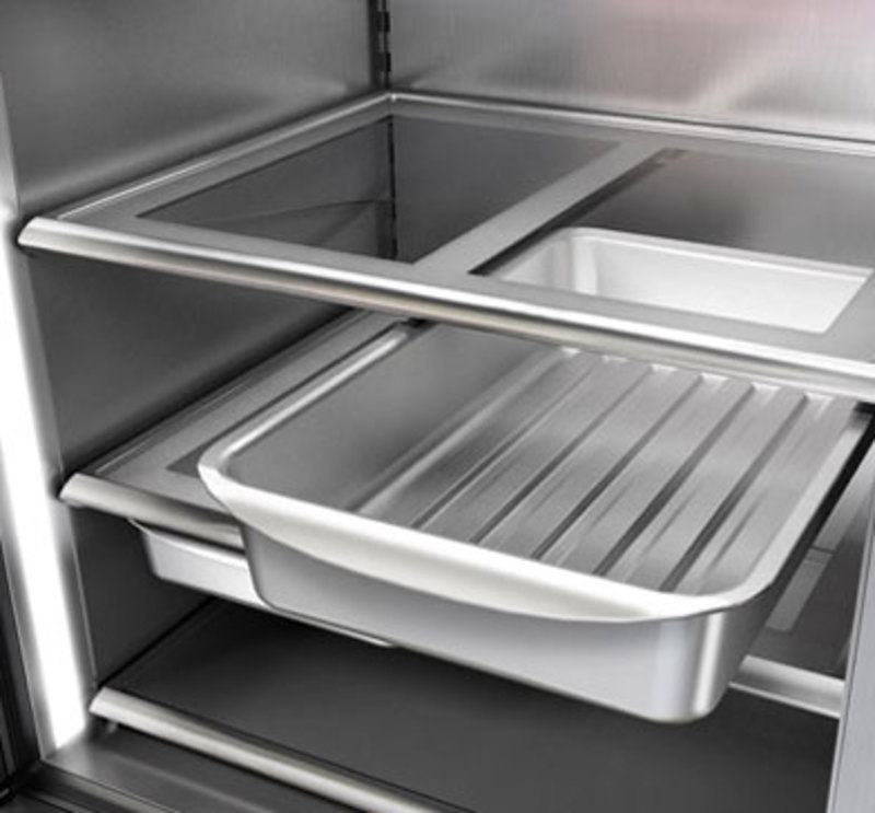 Close up view of the oven-safe trays in the PRO 36 refrigerator