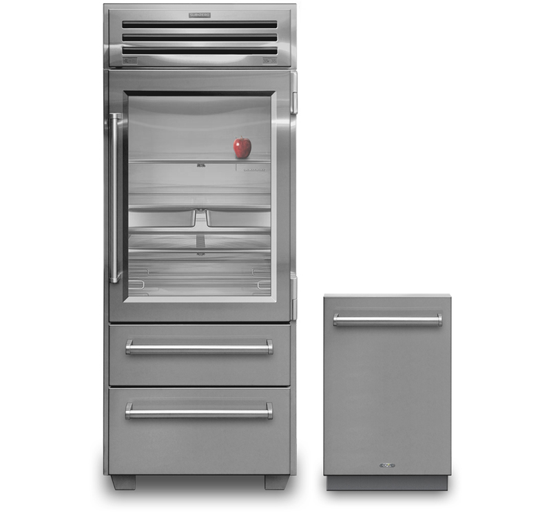 Front view showing the Pro 36 refrigerator next to the Cove Dishwasher