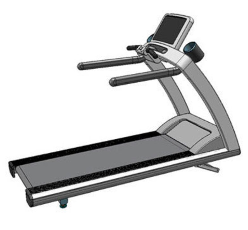 Rear three quarters SolidWorks view of the t-series treadmill