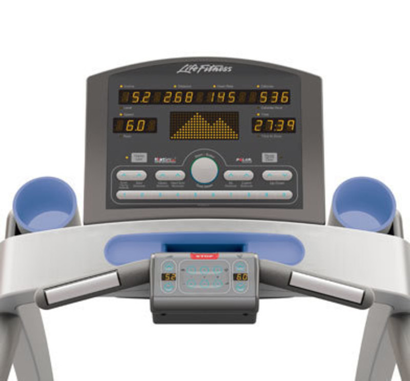 Front view rendering of the t-series treadmill control panel