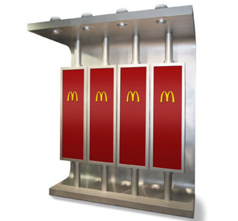Front view of the rotating menu board installation showing the McDonald's logo