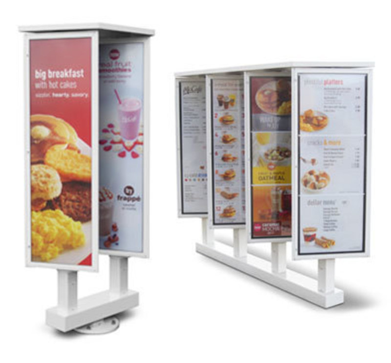 View of the rotating menu boards with example menus in place