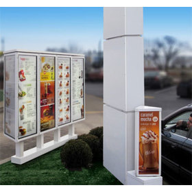 View of the menu boards in a drive-through lane from the vehicle's perspective