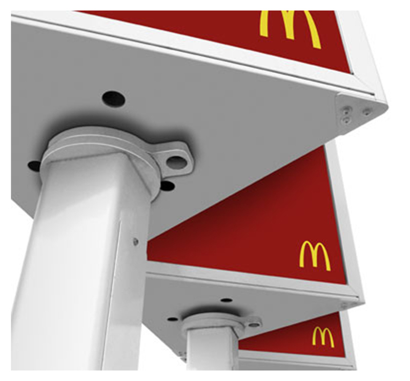 Underside of McDonald's Menu board showing the bearing that allows rotation