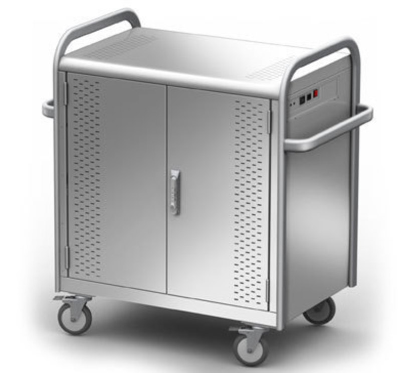 Three quarters front view of the Pulse laptop cart with doors closed