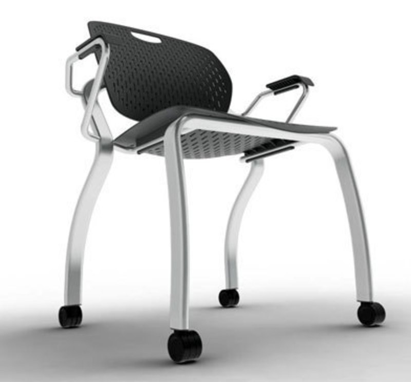 Low angle view of the explore chair showing the legs and underside of the seat