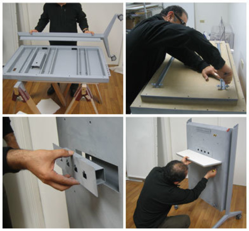 Collage of images showing how the flat panel lectern is assembled
