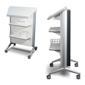 Side and back view of the flat panel lectern showing shelf and storage components