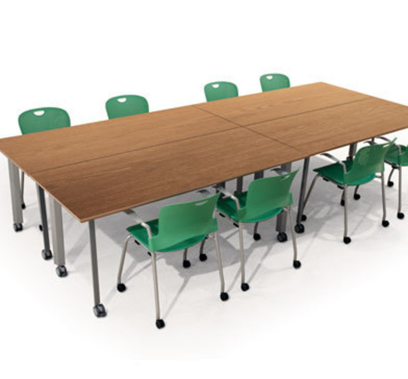 Context view showing an arrangement of 4 Rhombii tables with chairs around it