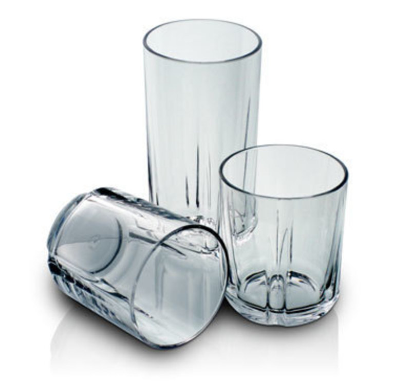 Front overhead view showing two juice glasses and a tumbler from the Clarus Collection