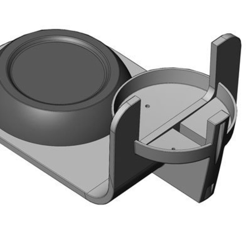Close up CAD view of the stainless steel base for the stx thermal home brewer