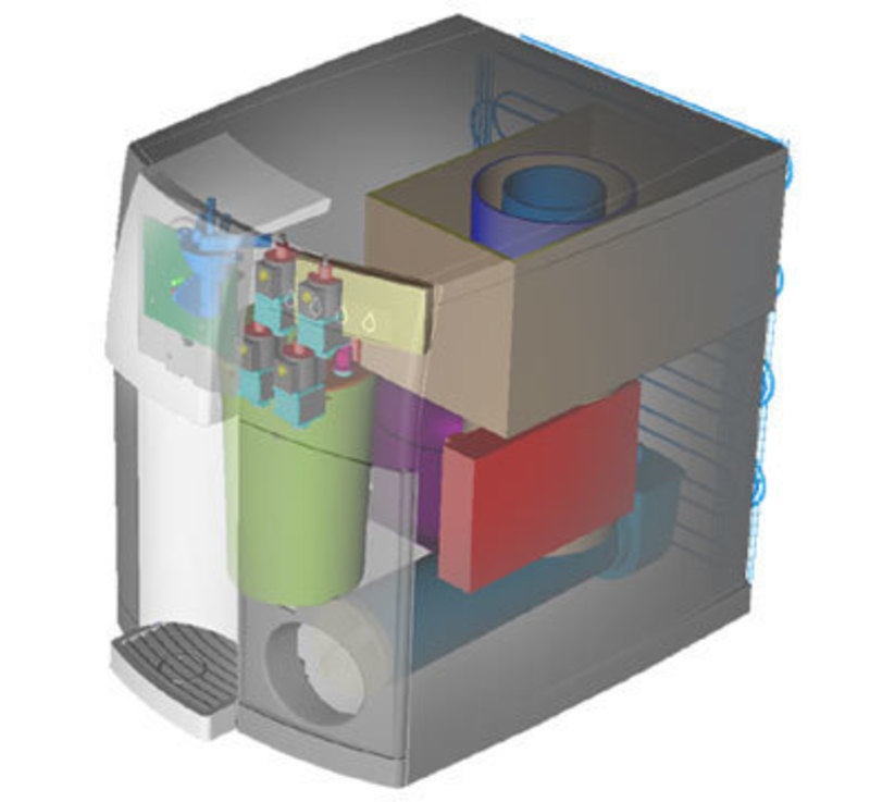 Transparent CAD model view showing the internal components inside the of it