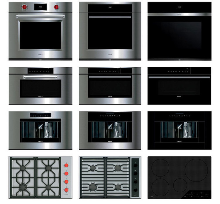Collage of the entire Wolf Wall oven product family