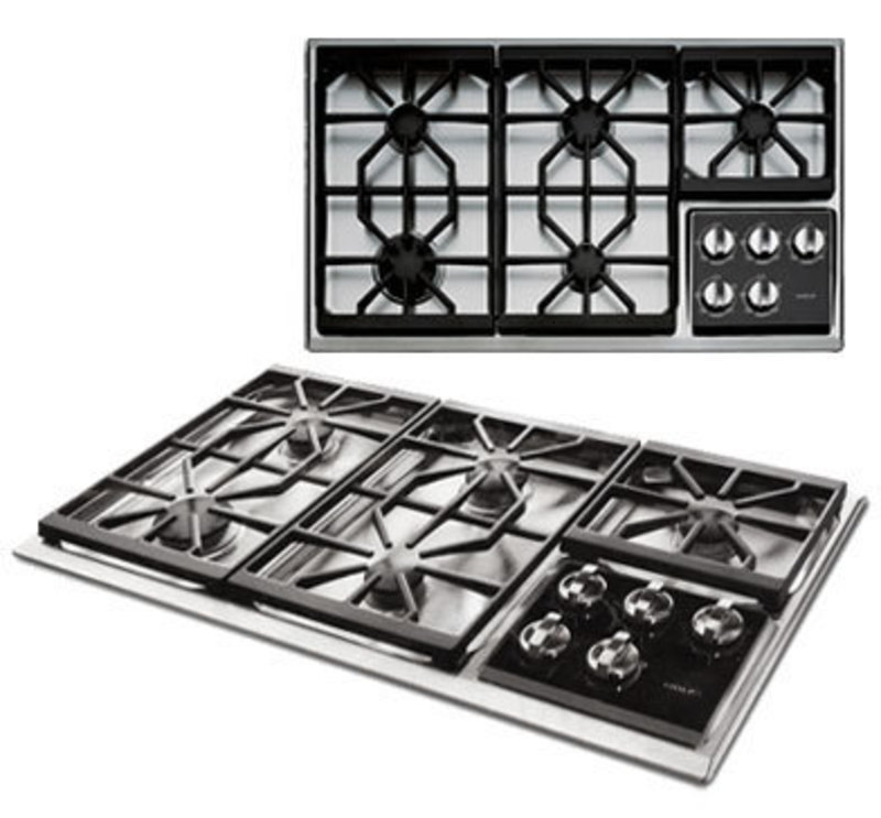 Top and perspective views of the 36 inch cook top showing grates and control knobs